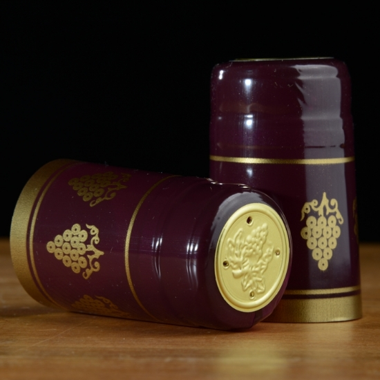 Picture of Burgundy with Gold Grapes PVC Capsules 100 count